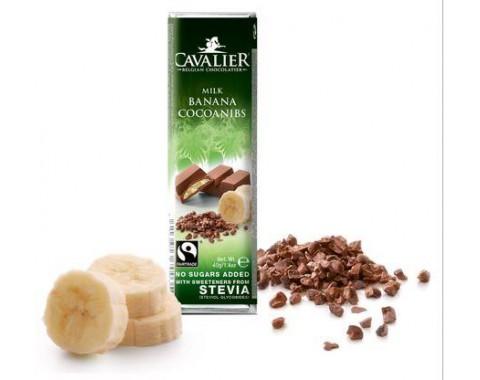 Čokolada s bananom i kakao zrncima, bez šećera 40g