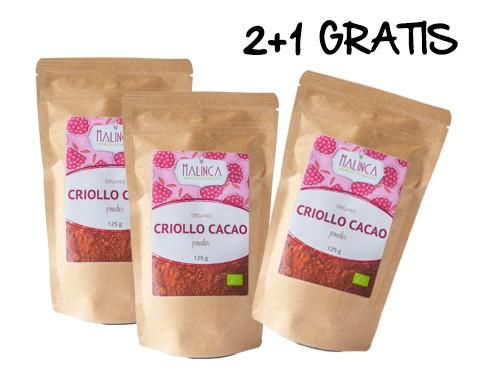100% Rohes Criollo Kakaopulver aus ökologischem Landbau 125 g 2+1 gratis