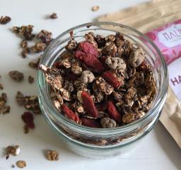 Selbst gemachtes Granola mit Schokolade und Goji-Erdbeeren