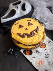 Kürbis-Halloween-Torte