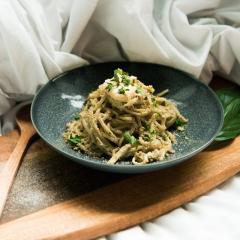 Vegane Pasta mit Pilzsauce und Cashewbutter