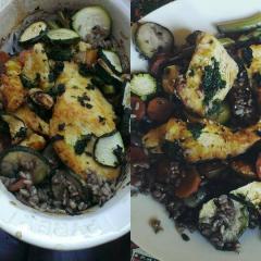 Piščančje prsi, riž in zelenjava iz pečice