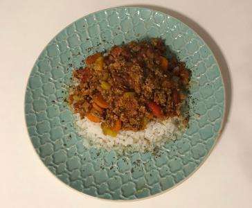 Riž brez kalorij z bolognese omako