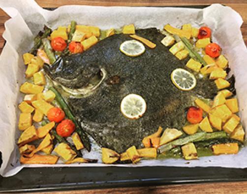Romb z zelenjavo iz pečice