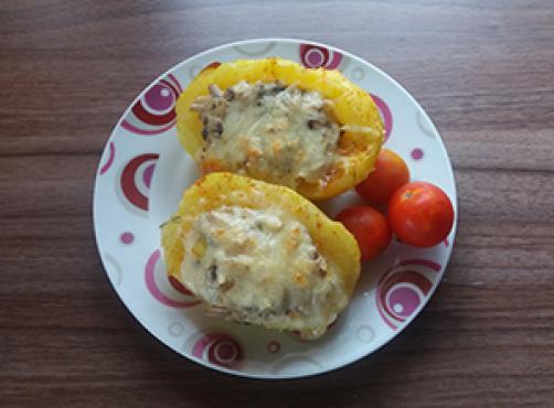 Krompirjeve ladjice z gobicami