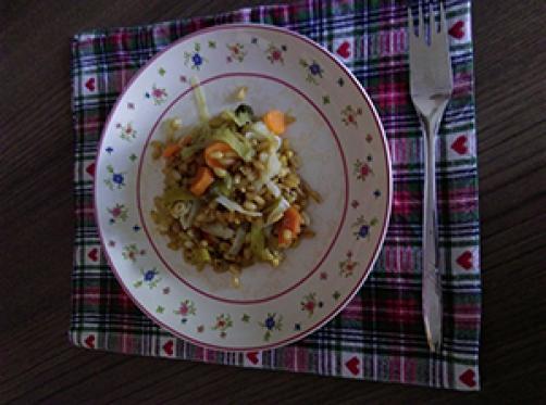 Kamutova rižota s porom