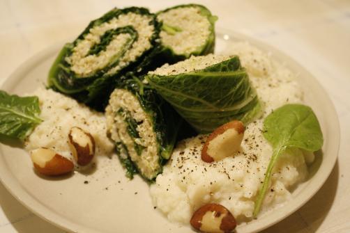Wirsing-Quinoa-Röllchen mit Blumenkohlcreme