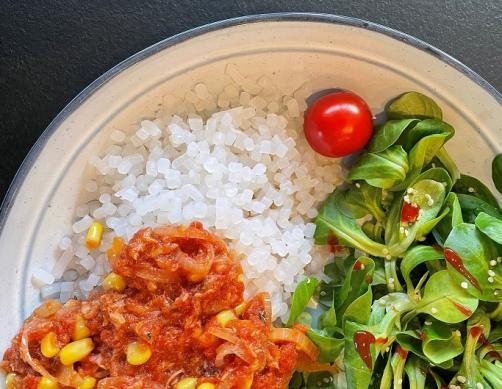 Reis ohne Kohlenhydrate mit Thunfischsoße
