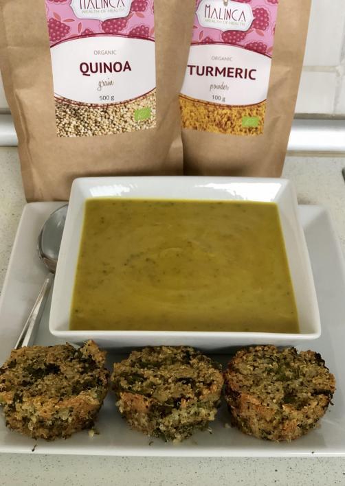 Quinoa-Muffins mit Brokkoli und Zucchinisuppe mit Kurkuma