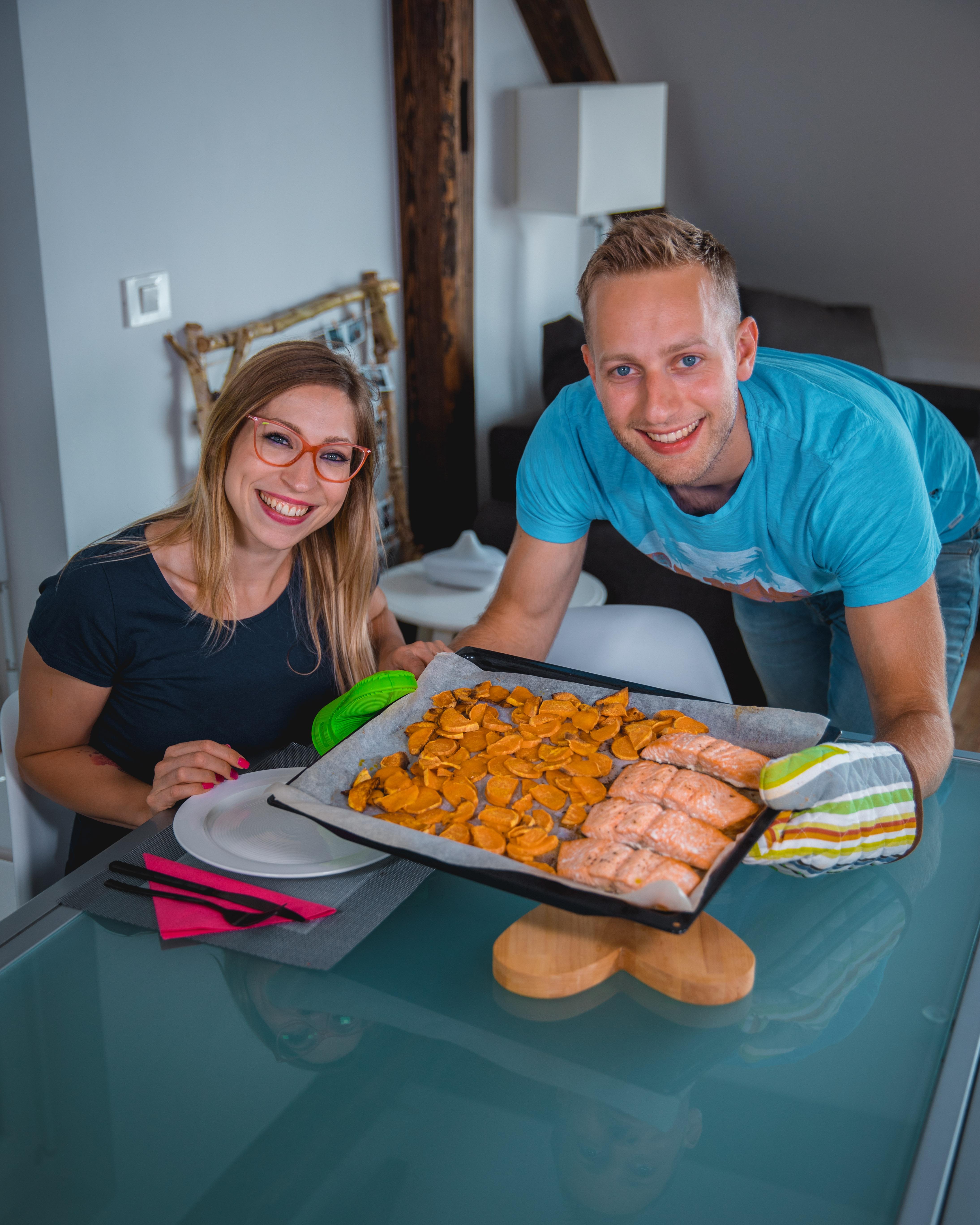 Losos v pečici in sladki krompir
