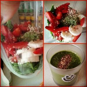 Zelenjavno jagodni smoothie