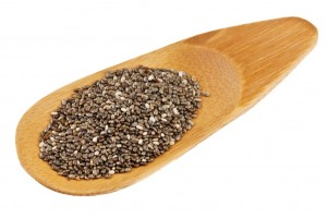 Chia seeds on a bamboo scoop