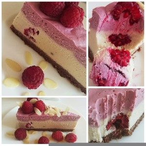 Presna malinina torta z okusom bele čokolade